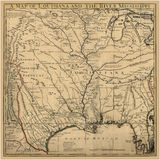 Fond Art Ancient Map Louisiana Image libre de droits