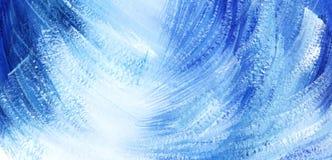 Fond artistique abstrait Taches et courses diagonales bleues et blanches illustration stock