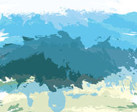 Fond artistique de brosse de peinture bleue abstraite Photos libres de droits
