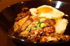Fond asiatique japonais de nourriture de poulet de Teriyaki Image libre de droits