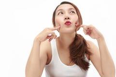 Fond asiatique mignon de blanc de portrait de femme Image stock