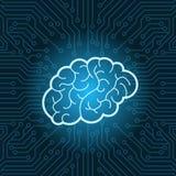 Fond au néon de carte mère de Brain Icon Over Blue Circuit Image stock