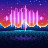 Fond au néon de rétro jeu avec la vague brillante de musique Photos libres de droits