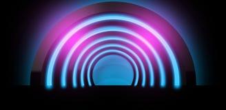 Fond au néon Rendu de la voûte 3D Photographie stock libre de droits