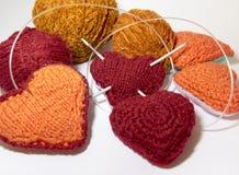 Fond au sujet de l'amour du tricotage avec la laine Photos libres de droits