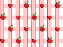 Fond aux fraises et aux coeurs illustration stock