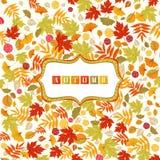 Fond avec Autumn Leaves Pattern And Banner Images libres de droits