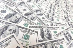 Fond avec beaucoup de cents billets d'un dollar américains Images libres de droits