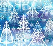 Fond avec des arbres d'hiver Images libres de droits