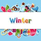 Fond avec des autocollants d'hiver Articles de vacances de Joyeux Noël, de bonne année et symboles Photos libres de droits