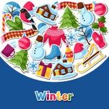 Fond avec des autocollants d'hiver Articles de vacances de Joyeux Noël, de bonne année et symboles Image libre de droits