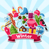 Fond avec des autocollants d'hiver Articles de vacances de Joyeux Noël, de bonne année et symboles Photographie stock libre de droits