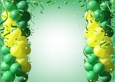 Fond avec des ballons et des confettis de partie Photos libres de droits