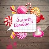 Fond avec des bonbons et des sucreries illustration libre de droits