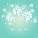 Fond avec des boules de Noël sur le bleu Photos stock