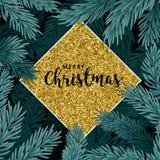 Fond avec des branches d'arbre de Noël images stock