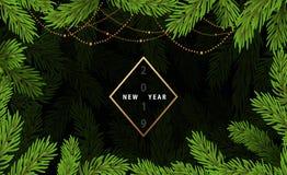 Fond avec des branches d'arbre de Noël photo libre de droits