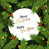 Fond avec des branches d'arbre de Noël photos stock