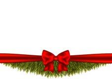 Fond avec des branches d'arbre de Noël et un ruban rouge illustration stock