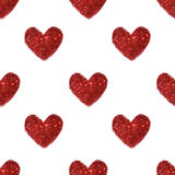 Fond avec des coeurs de scintillement rouge, modèle sans couture Photographie stock