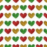 Fond avec des coeurs de scintillement rouge, vert et d'or, modèle sans couture Photo stock