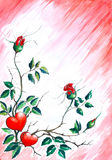 Fond avec des coeurs et des roses. Photo stock