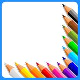 Fond avec des crayons Photo libre de droits