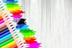 Fond avec des crayons Photographie stock libre de droits
