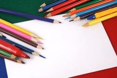 Fond avec des crayons de couleur Images stock