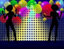 Fond avec des filles de disco Images stock