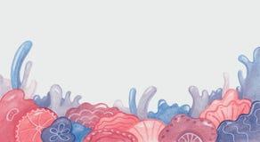 Fond avec des fleurs et des coraux aux nuances roses et bleues Images libres de droits