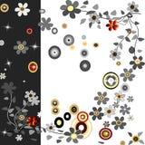 Fond avec des fleurs et des cercles Photographie stock libre de droits