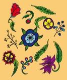 Fond avec des fleurs et des leavs de bande dessinée Photo libre de droits