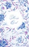 Fond avec des fleurs Succulents de bleu d'aquarelle Images stock
