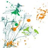 Fond avec des herbes et des fleurs de dessin Image libre de droits