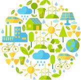 Fond avec des icônes d'écologie Images libres de droits