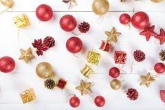 Fond avec des jouets pour la carte de Noël Photographie stock