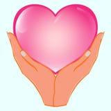 Fond avec des mains tenant le coeur illustration libre de droits
