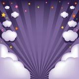Fond avec des nuages et des étoiles. Vecteur Image stock