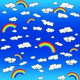 Fond avec des nuages et un arc-en-ciel illustration libre de droits