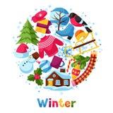 Fond avec des objets d'hiver Articles de vacances de Joyeux Noël, de bonne année et symboles Photo stock