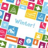 Fond avec des objets d'hiver Articles de vacances de Joyeux Noël, de bonne année et symboles Image stock