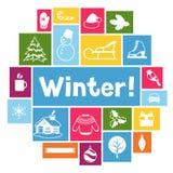 Fond avec des objets d'hiver Articles de vacances de Joyeux Noël, de bonne année et symboles Photos libres de droits