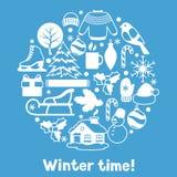 Fond avec des objets d'hiver Articles de vacances de Joyeux Noël, de bonne année et symboles Images libres de droits