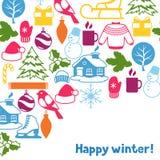 Fond avec des objets d'hiver Articles de vacances de Joyeux Noël, de bonne année et symboles Photographie stock libre de droits
