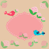 Fond avec des oiseaux et des fleurs illustration stock