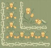 Fond avec des ornements des iris jaunes Images stock