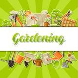 Fond avec des outils et des articles de jardin Illustration de jardinage de saison illustration libre de droits
