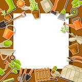 Fond avec des outils et des articles de jardin Illustration de jardinage de saison illustration de vecteur