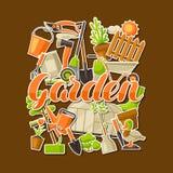 Fond avec des outils et des articles de jardin Illustration de jardinage de saison illustration stock